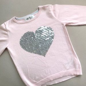 H & M pink/sequined sweater 2-4T